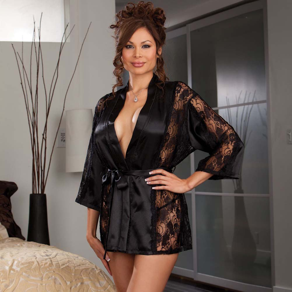 Dreamgirl Robe and Thong with Padded Hanger. Plus Size 1X/2X Black - View #1