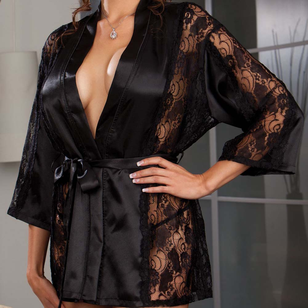 Dreamgirl Robe and Thong with Padded Hanger Plus Size 3X/4X Black - View #2