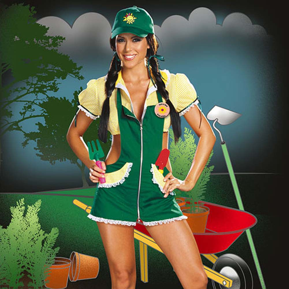 Dreamgirl Garden Ho Farm Girl Sexy Halloween Costume Large Green - View #4