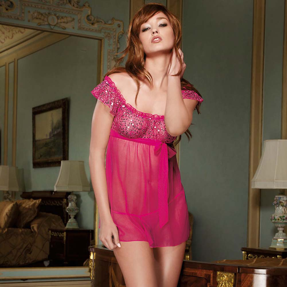 Sweet and Sparkled Sequined Top Babydoll Set Small - View #1