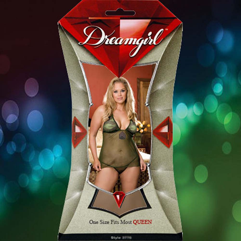 For Our Boys Babydoll Lingerie Costume Set Plus Size Camo Green - View #4