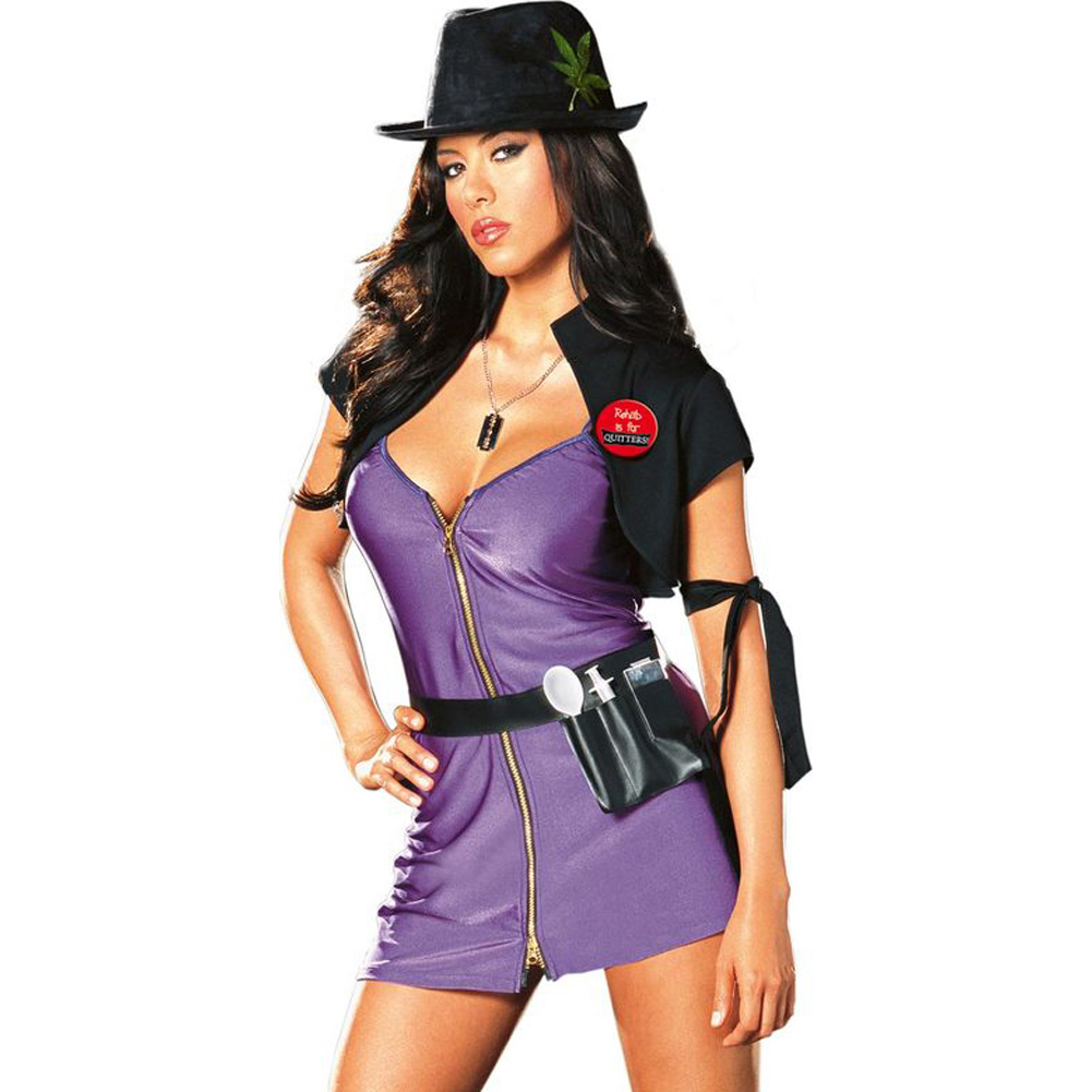 Diva Dealer Costume Small Purple and Black - View #1