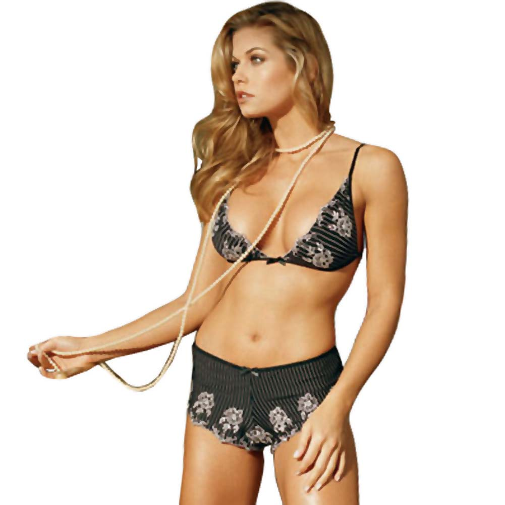 Fine Embroidered Bra Top and Shorts Set Large Black - View #1