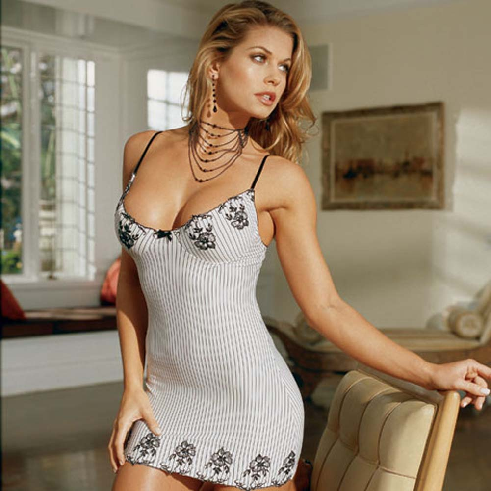 Embroidered Stripe Babydoll Style 3499 Ivory Black Medium - View #1