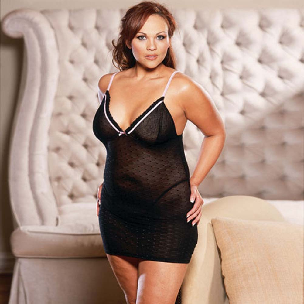 Slim Down Babydoll with Thong Black Plus Size - View #2