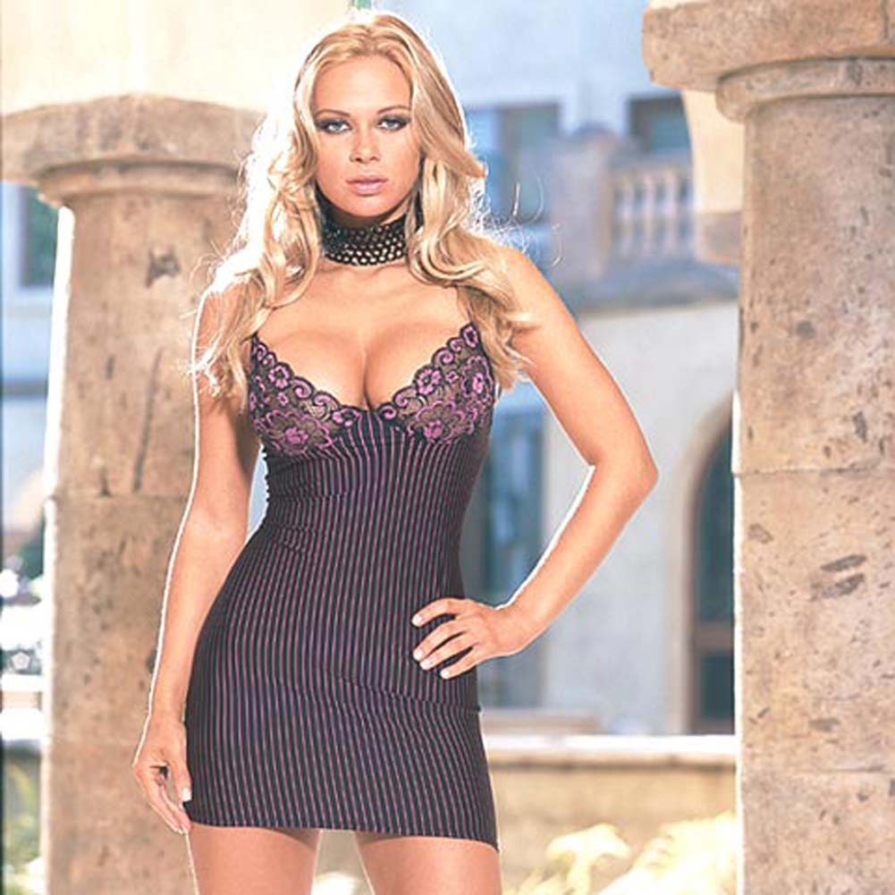 Stripe Microfiber Babydoll with Thong Style 3649 Small - View #2