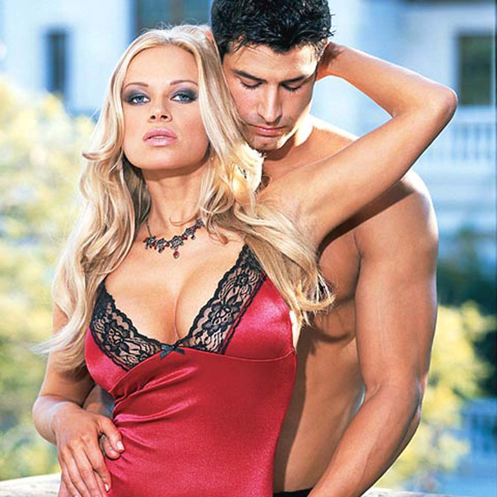 Stretch Satin Babydoll with Thong Style 3726 Red Small - View #3