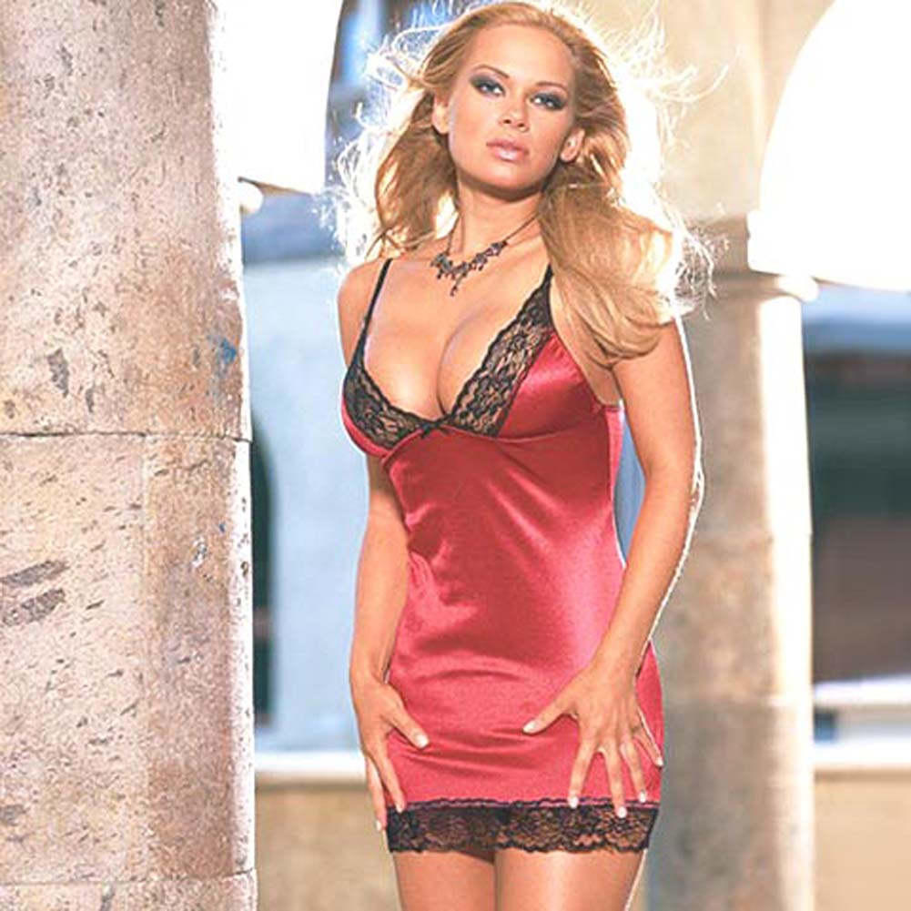 Stretch Satin Babydoll with Thong Style 3726 Red Medium - View #2