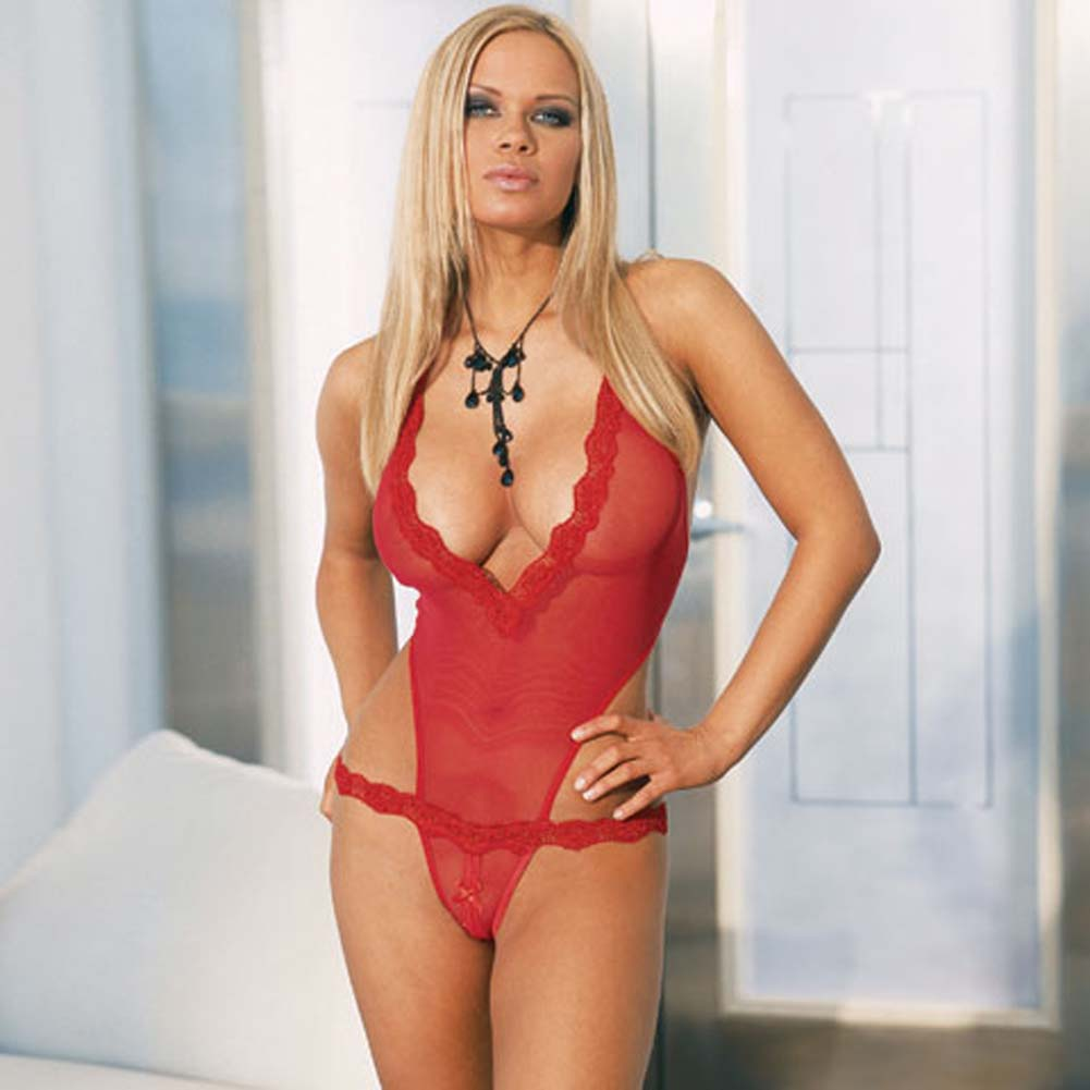 Super Slim Fishnet Open Crotch Teddy Red - View #2
