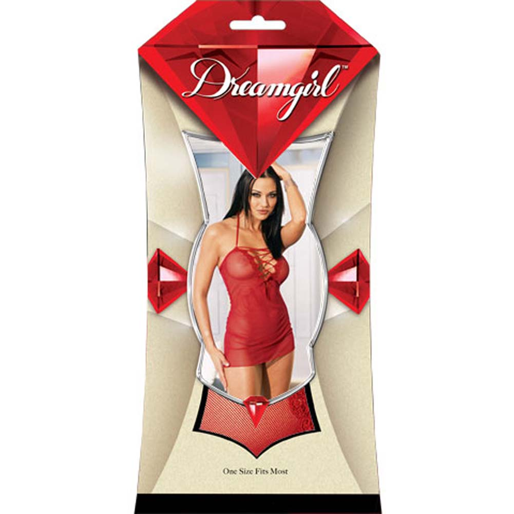 Lace Up Front Mini Dress with Thong Red - View #1