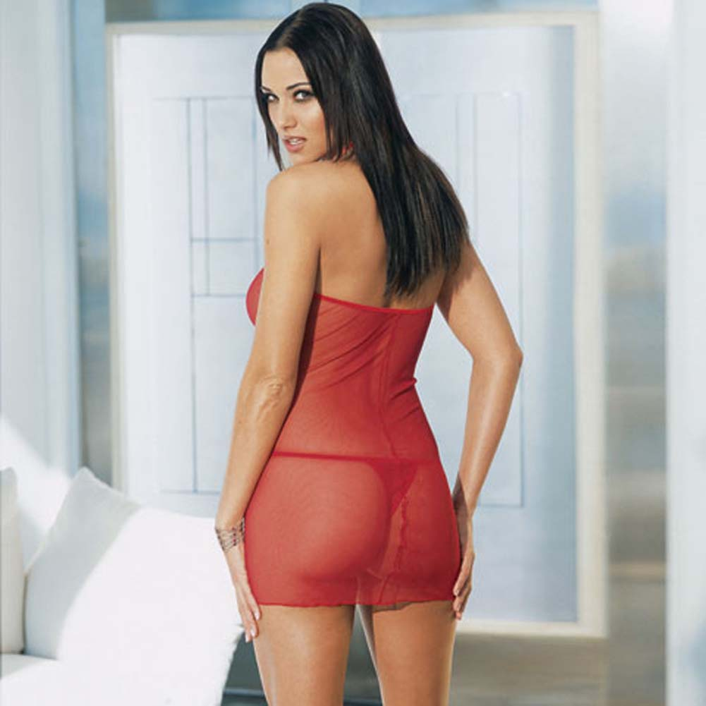 Lace Up Front Mini Dress with Thong Red - View #3