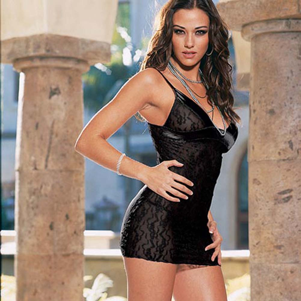 Lace and Satin Babydoll with Thong Style 3732Black - View #2