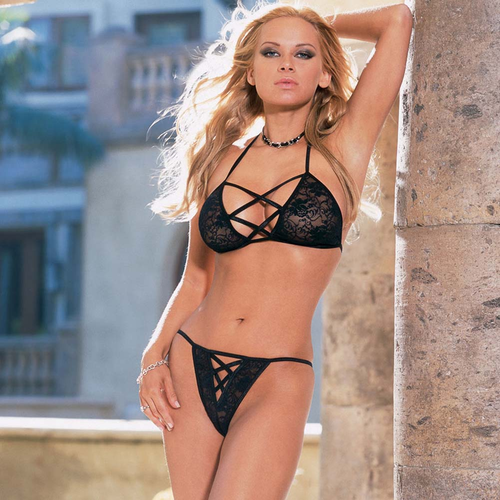 Strappy Halter Top and Matching Panty Black - View #1