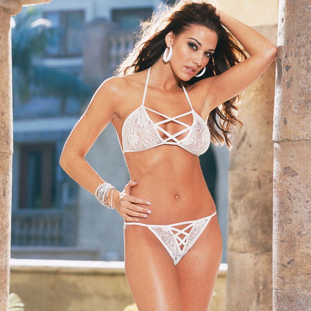 Strappy Halter Top and Matching Panty One Size White - View #3