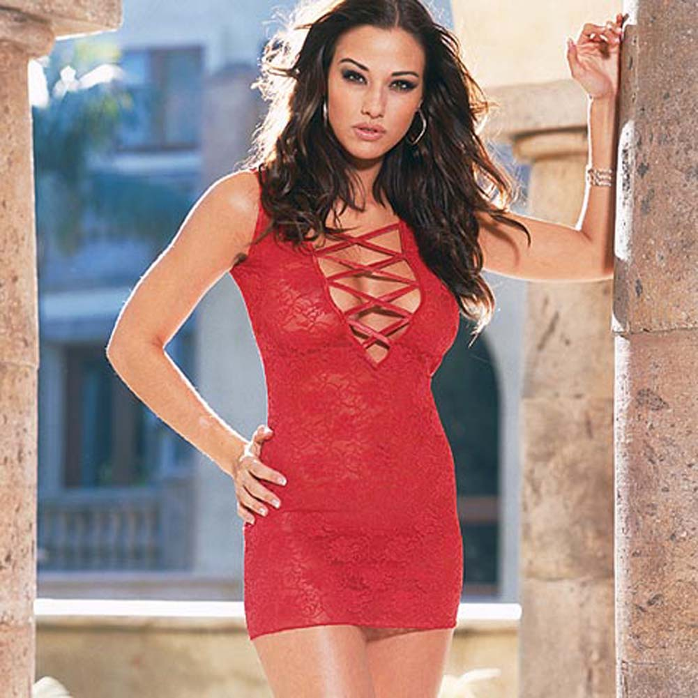 Stretch Lace Dress with Thong Style 3692Red - View #2
