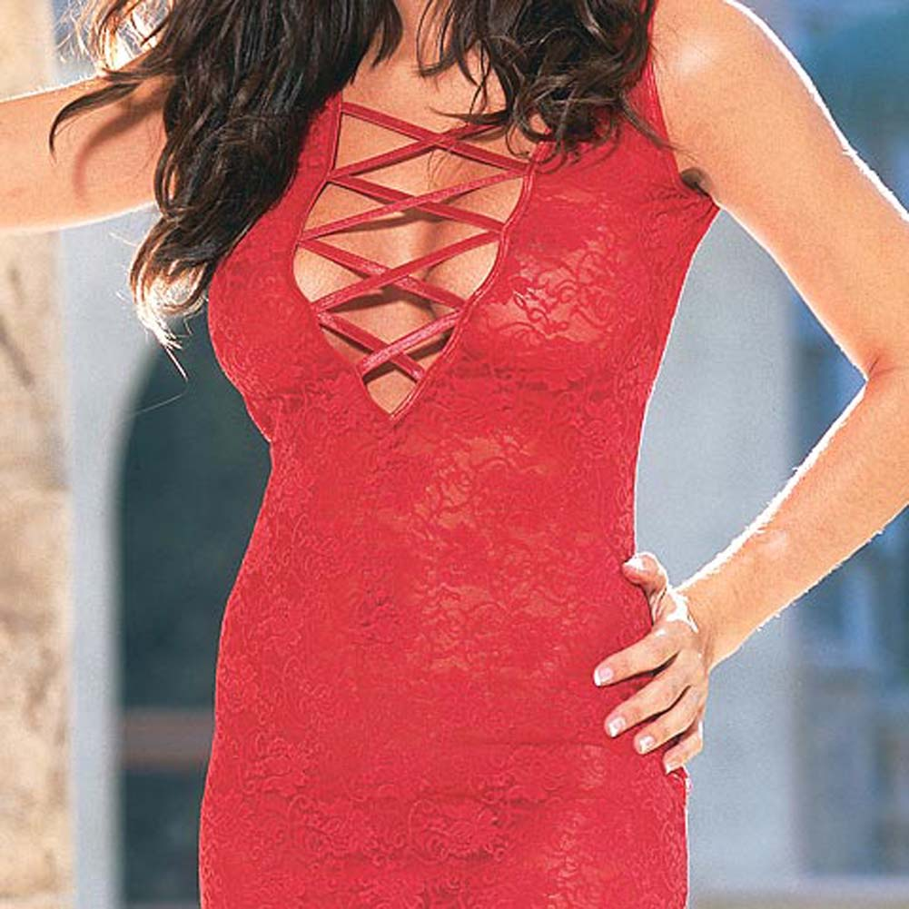 Stretch Lace Dress with Thong Style 3692Red - View #4