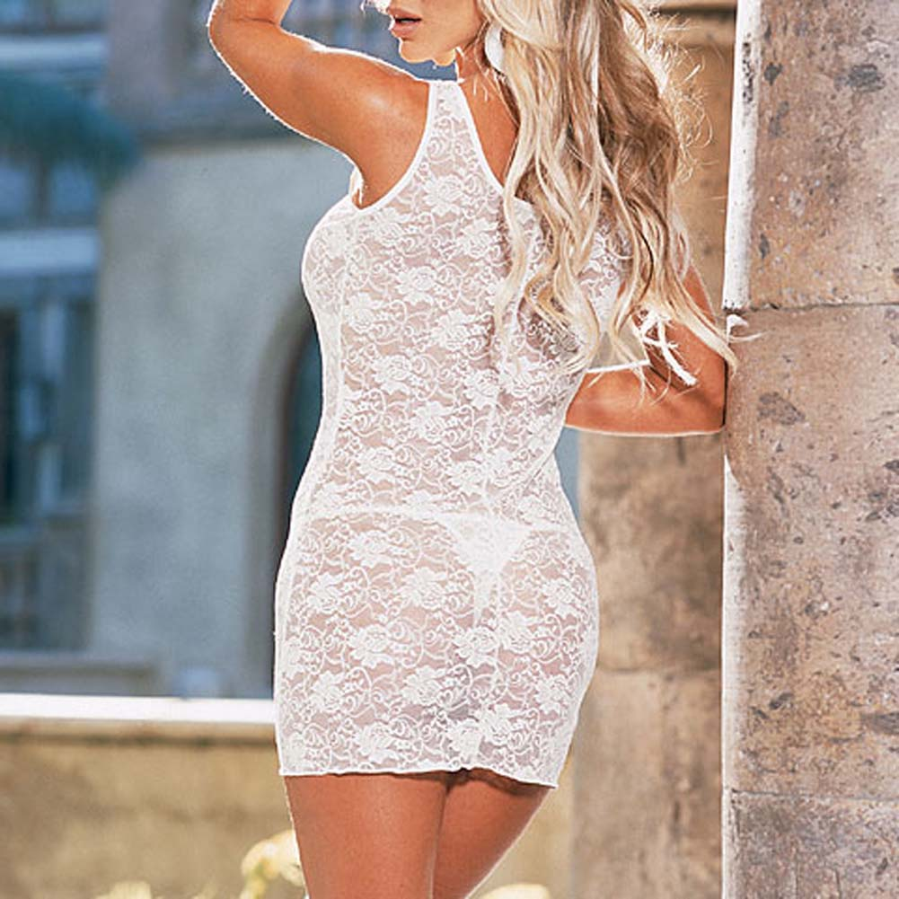 Stretch Lace Dress with Thong Style 3692 White - View #3