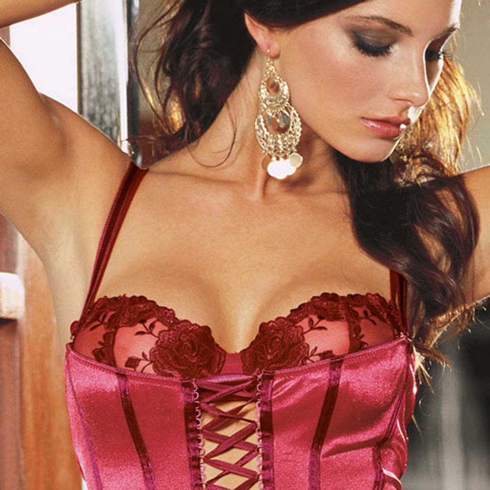 Satin Corset with Attached Rose Broidery Bra Red Size 34 - View #2