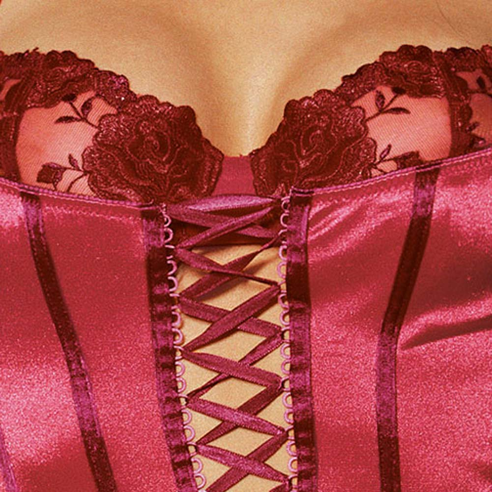 Satin Corset with Attached Rose Broidery Bra Red Size 34 - View #4