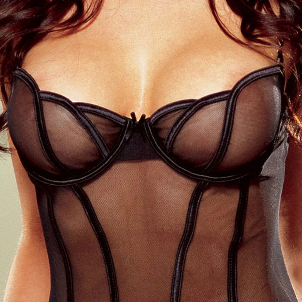 Sheer Mesh Babydoll and Thong Black Large - View #4