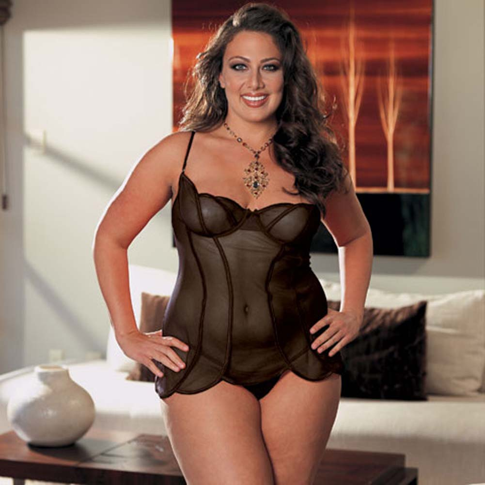 Sheer Mesh Babydoll and Thong Black Plus Size 1X/2X - View #1