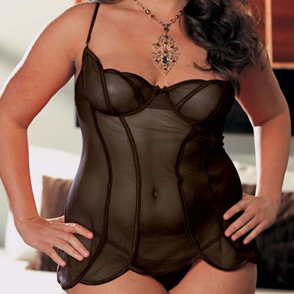 Sheer Mesh Babydoll and Thong Black Plus Size 1X/2X - View #3