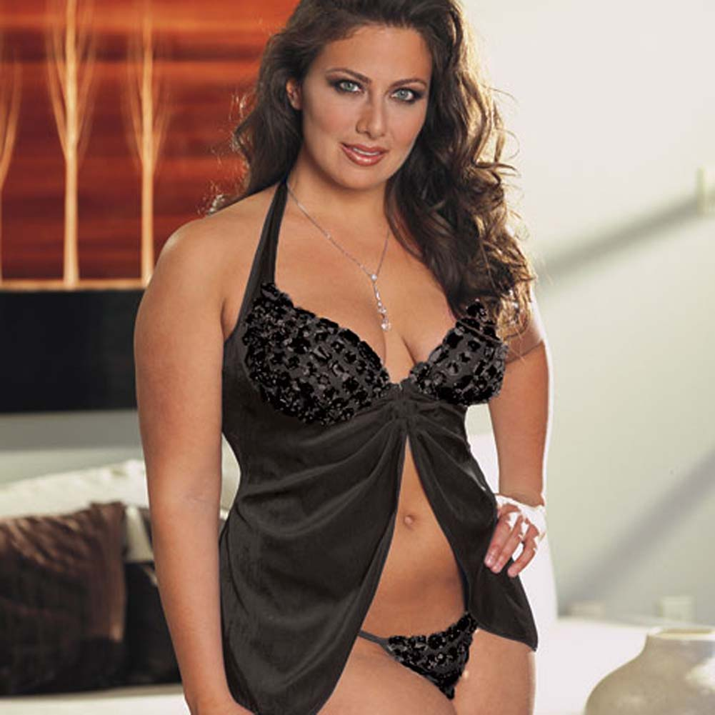 Faux Jewel Babydoll and Thong Set Plus Size 1X/2X Black - View #1