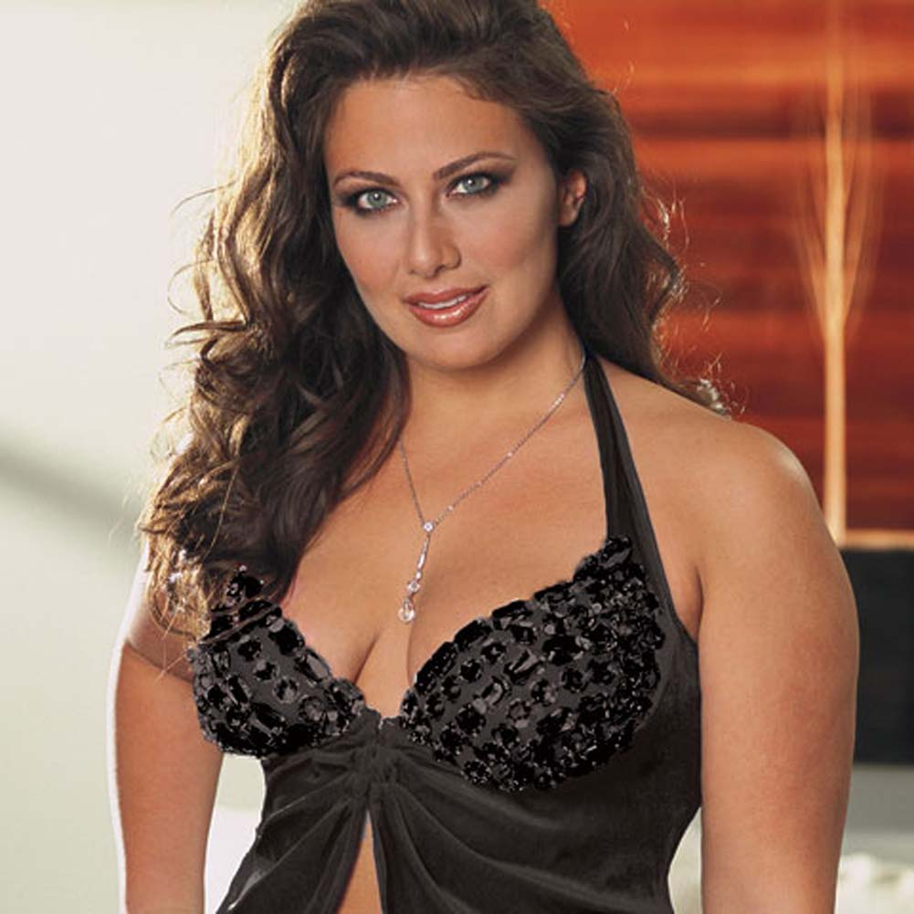 Faux Jewel Babydoll and Thong Set Plus Size 1X/2X Black - View #3