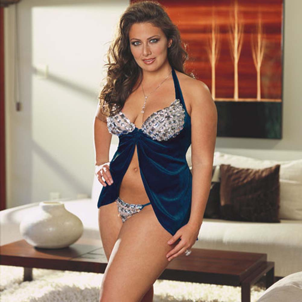 Faux Jewel Babydoll and Thong Set Plus Size 1X/2X Blue - View #2