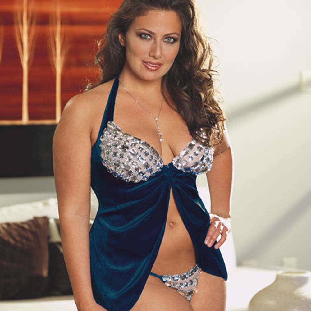 Faux Jewel Babydoll and Thong Set Plus Size 3X/4X Blue - View #1