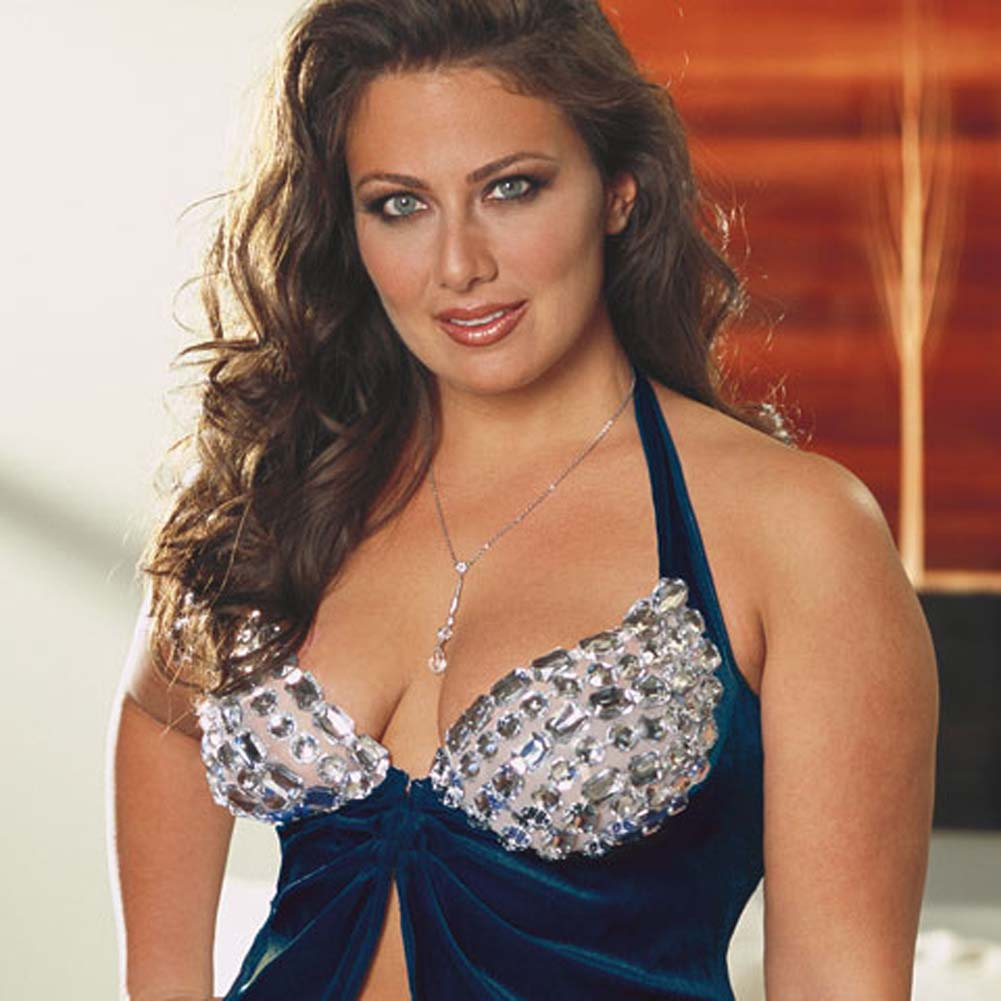 Faux Jewel Babydoll and Thong Set Plus Size 3X/4X Blue - View #3