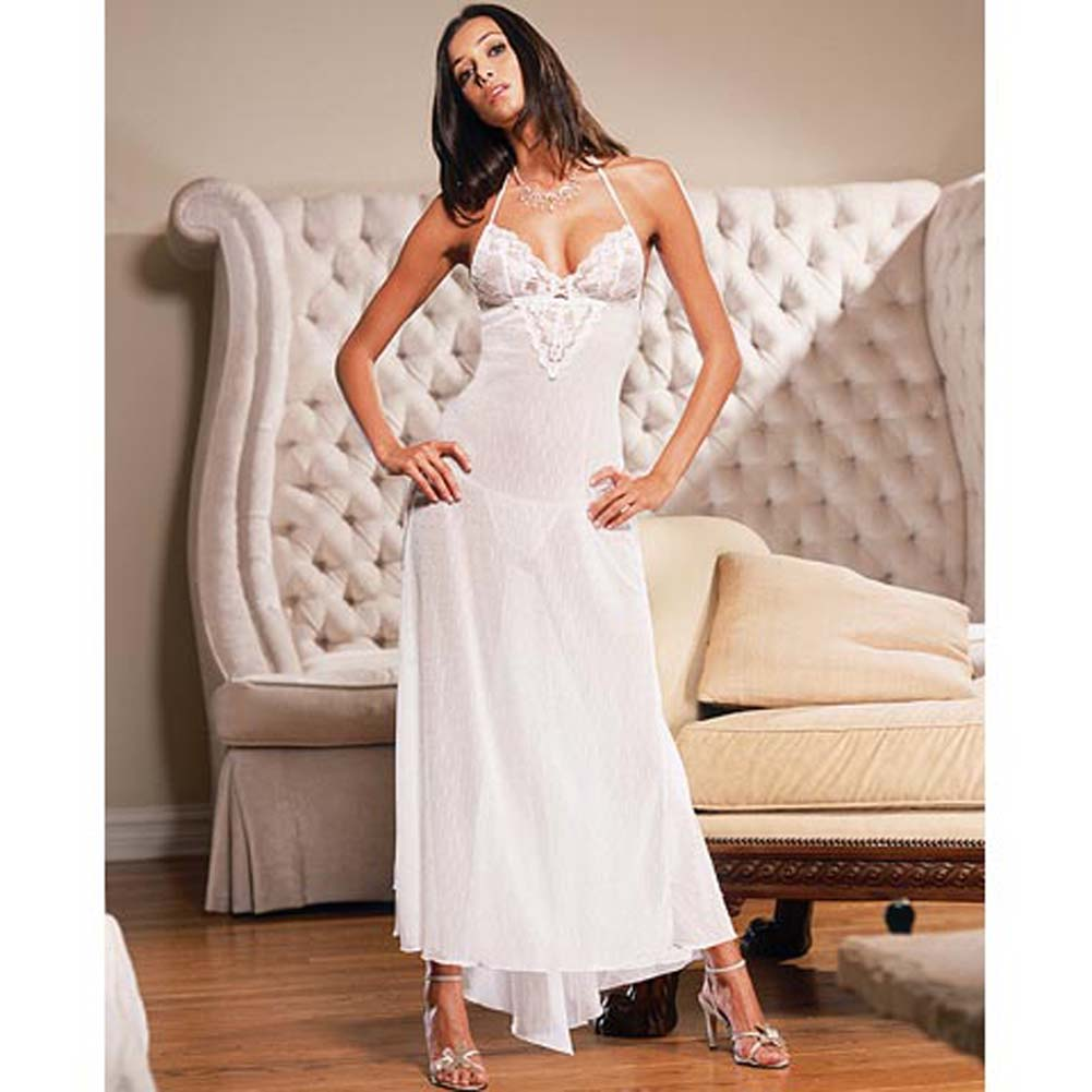 Swiss Dot Net Soft Cup Long Gown Style 3647 Medium White - View #2