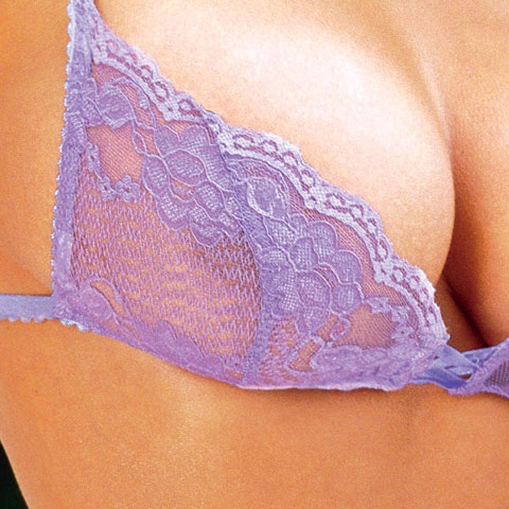 Stretch Lace Bra with Matching Thong Style 3648 Lilac Medium - View #3
