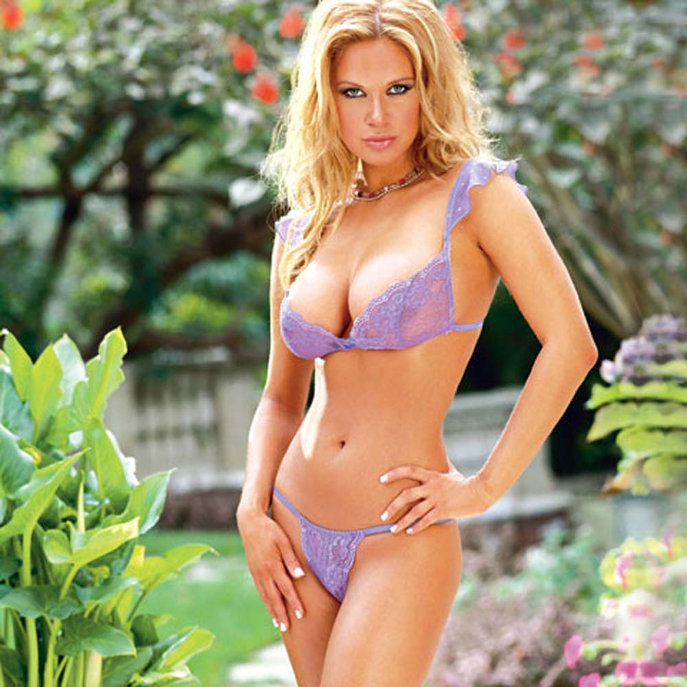 Stretch Lace Bra with Matching Thong Style 3648 Lilac Large - View #2