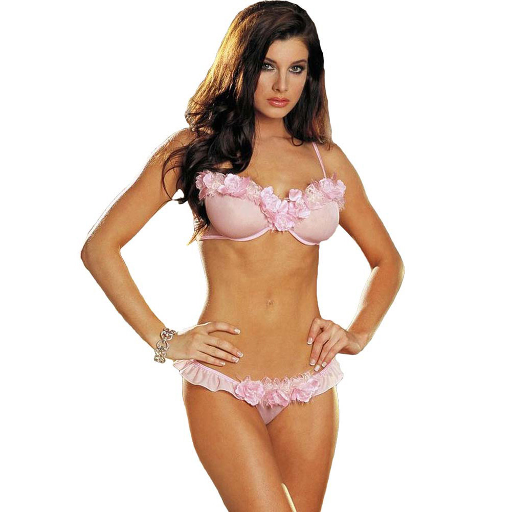 Dreamgirl Rose Trimmed Underwire Bra and Ruffled Thong Small Soft Pink - View #1