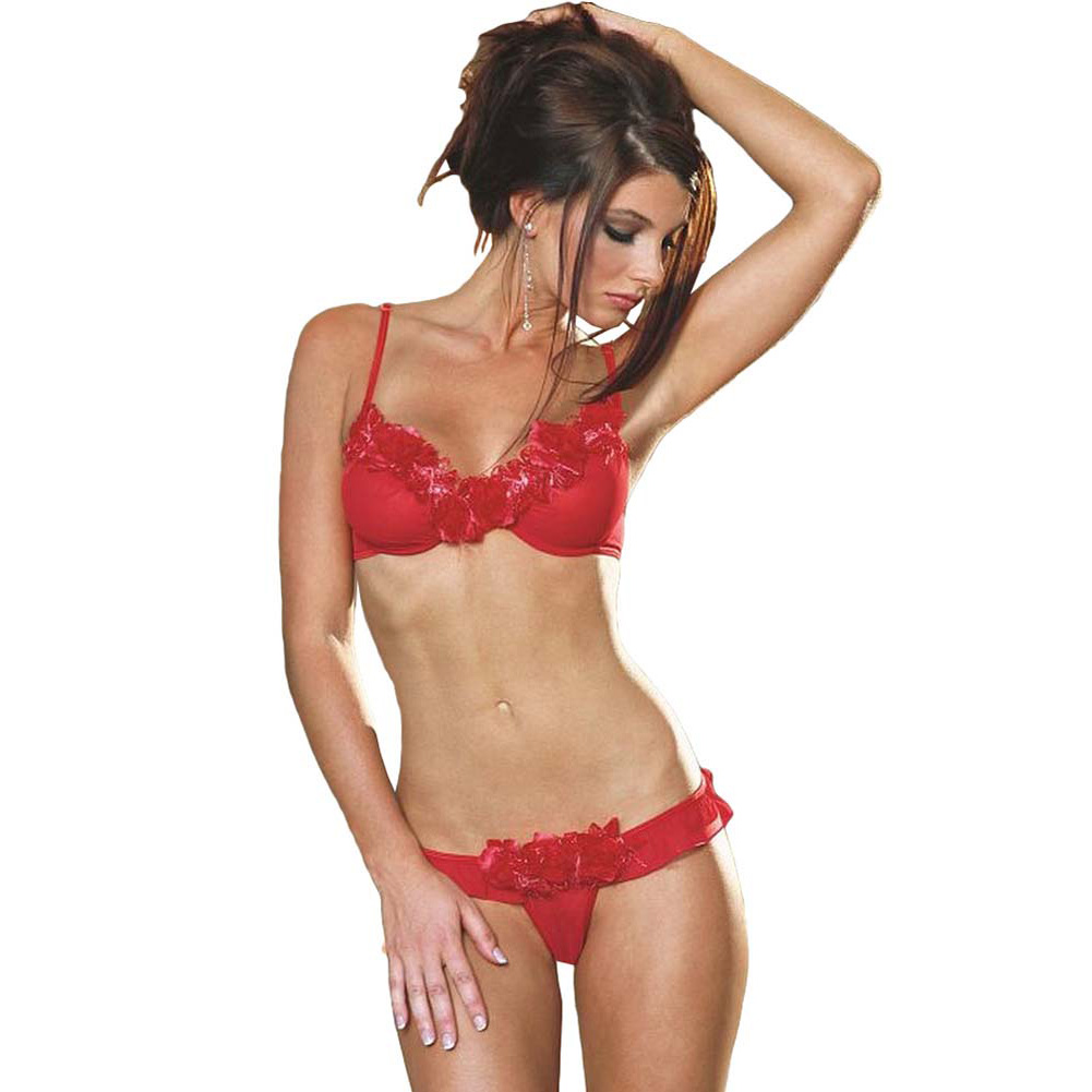 Rose Trimmed Underwire Bra and Ruffled Thong Small Red - View #1