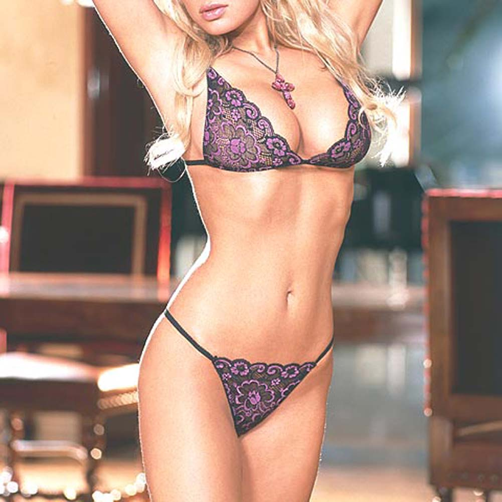 Embroidered Lace Bra Top and Thong Style 3652 Large - View #1