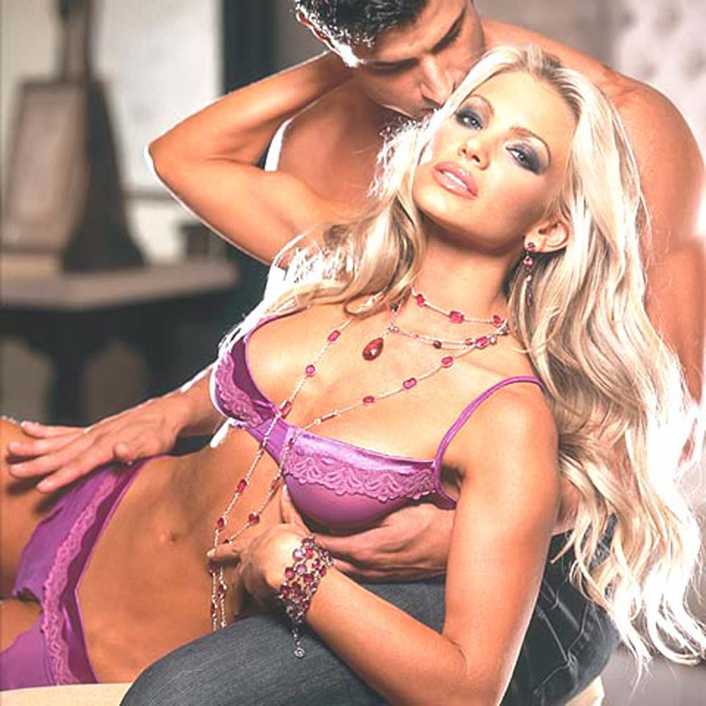 Stretch Satin Bra and Skirt with Thong Purple Large - View #3