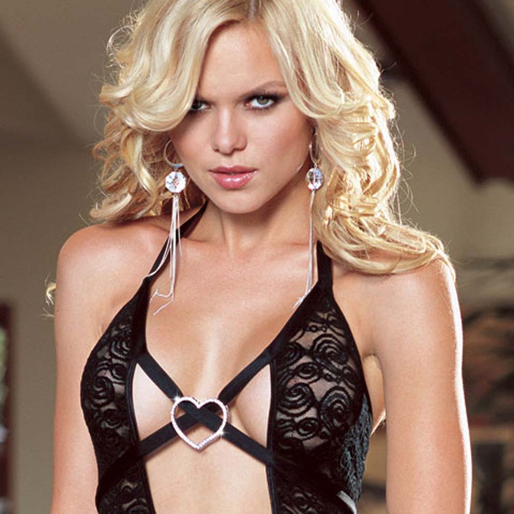 Chemise with Rhinestone Heart and Thong Black Medium - View #2