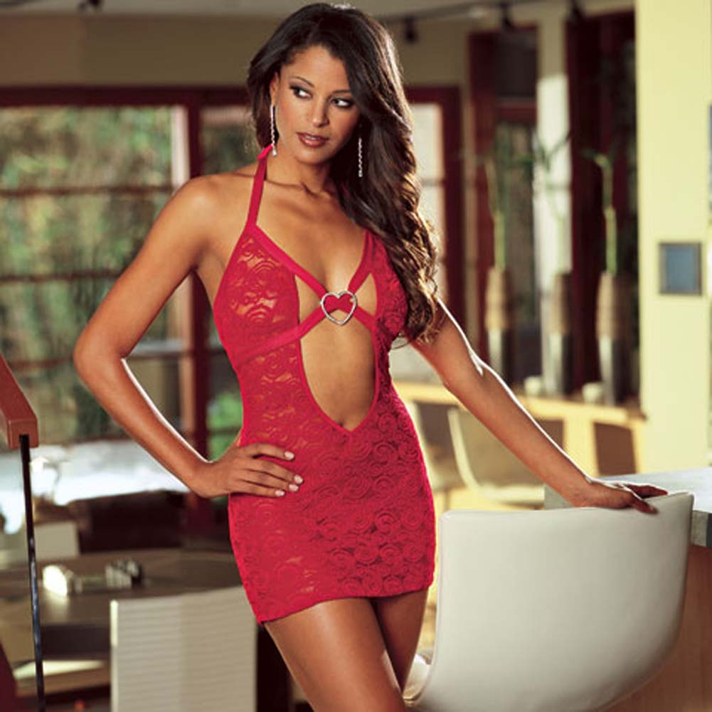 Babydoll with Rhinestone Heart and Thong Red Medium - View #1