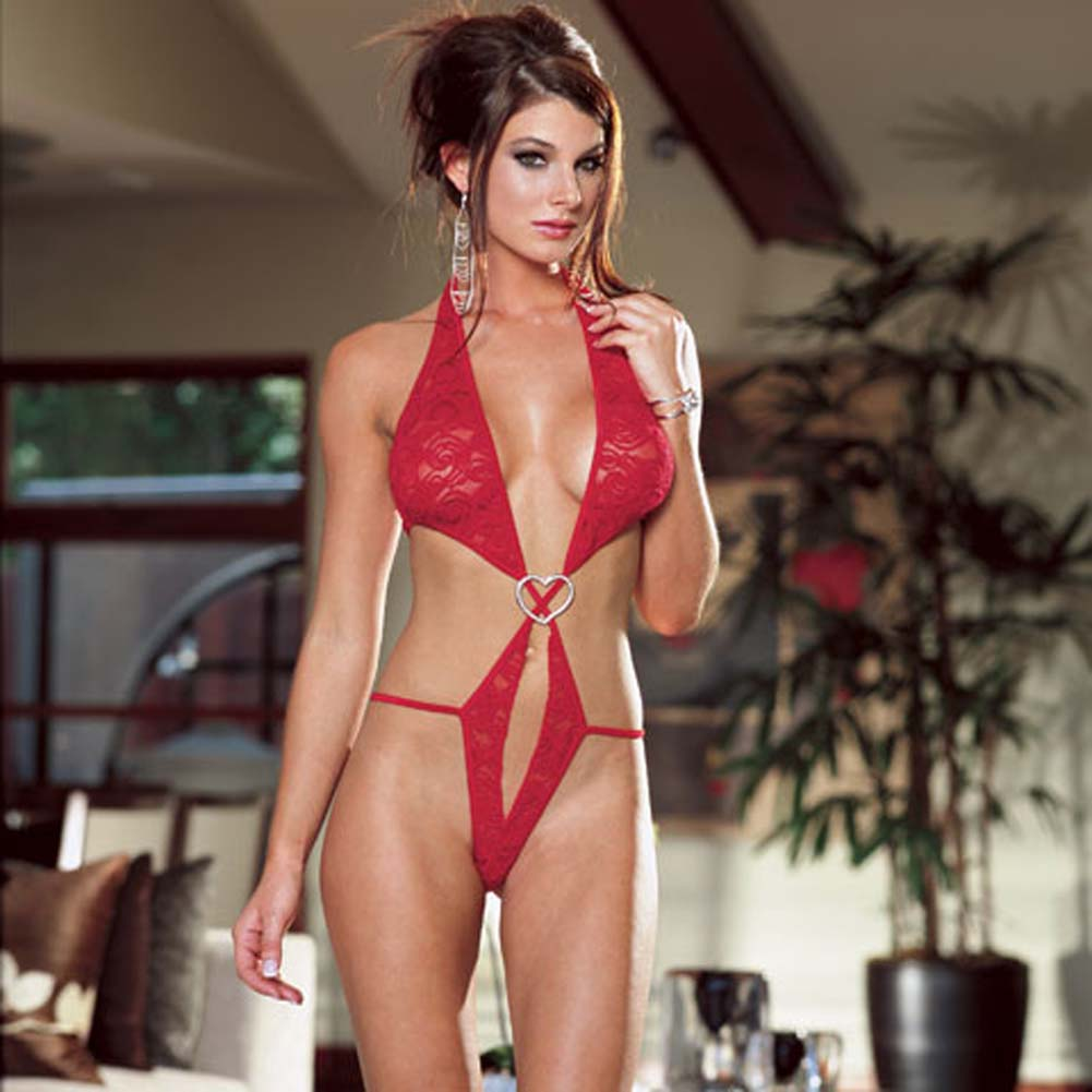 Stretch Lace Open Crotch Halter Teddie Red Small - View #1