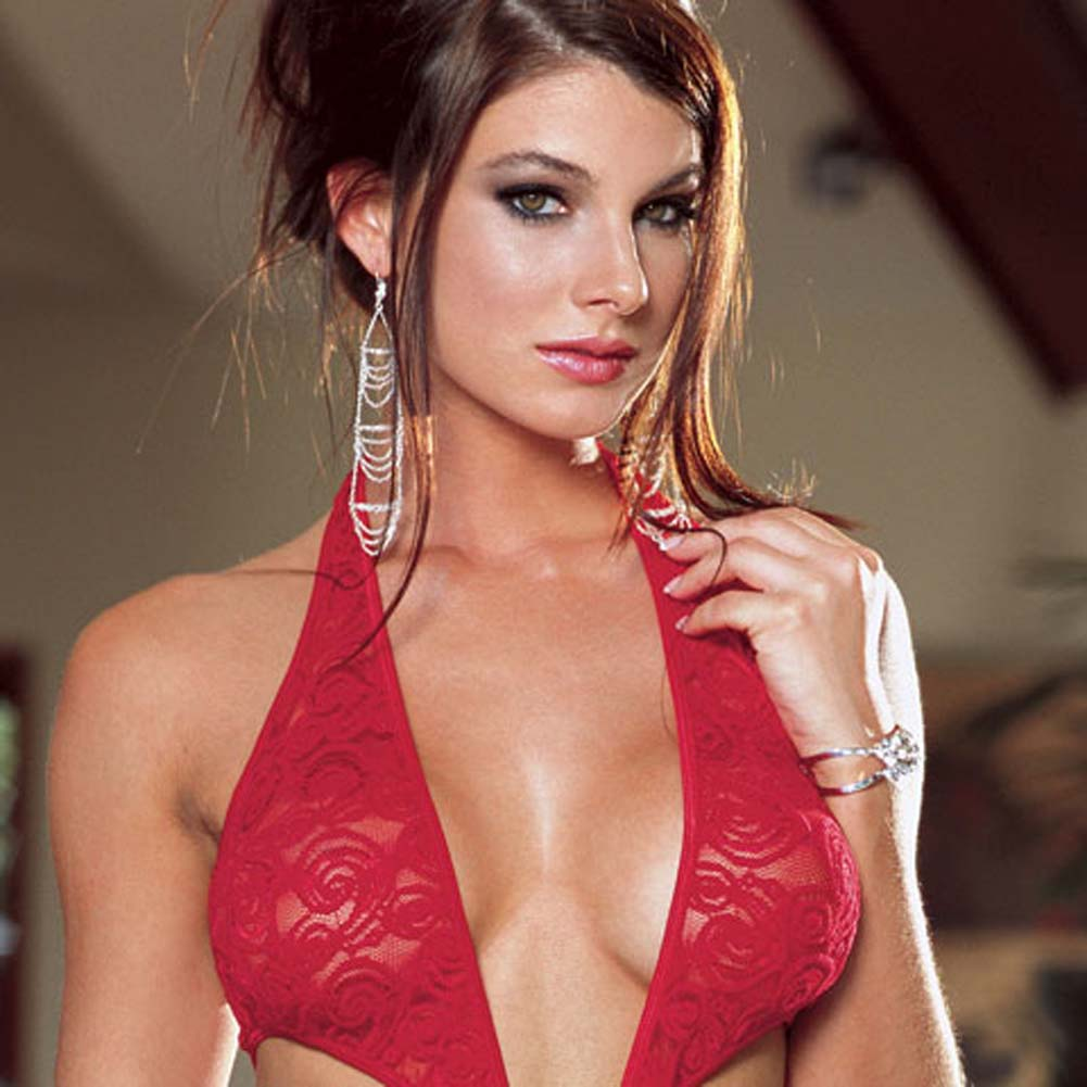 Stretch Lace Open Crotch Halter Teddie Red Small - View #3