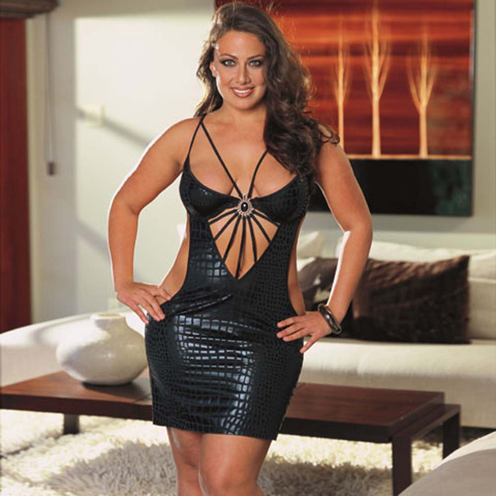 Cobra Print Dress with Thong Black Plus Size 1X/2X - View #1