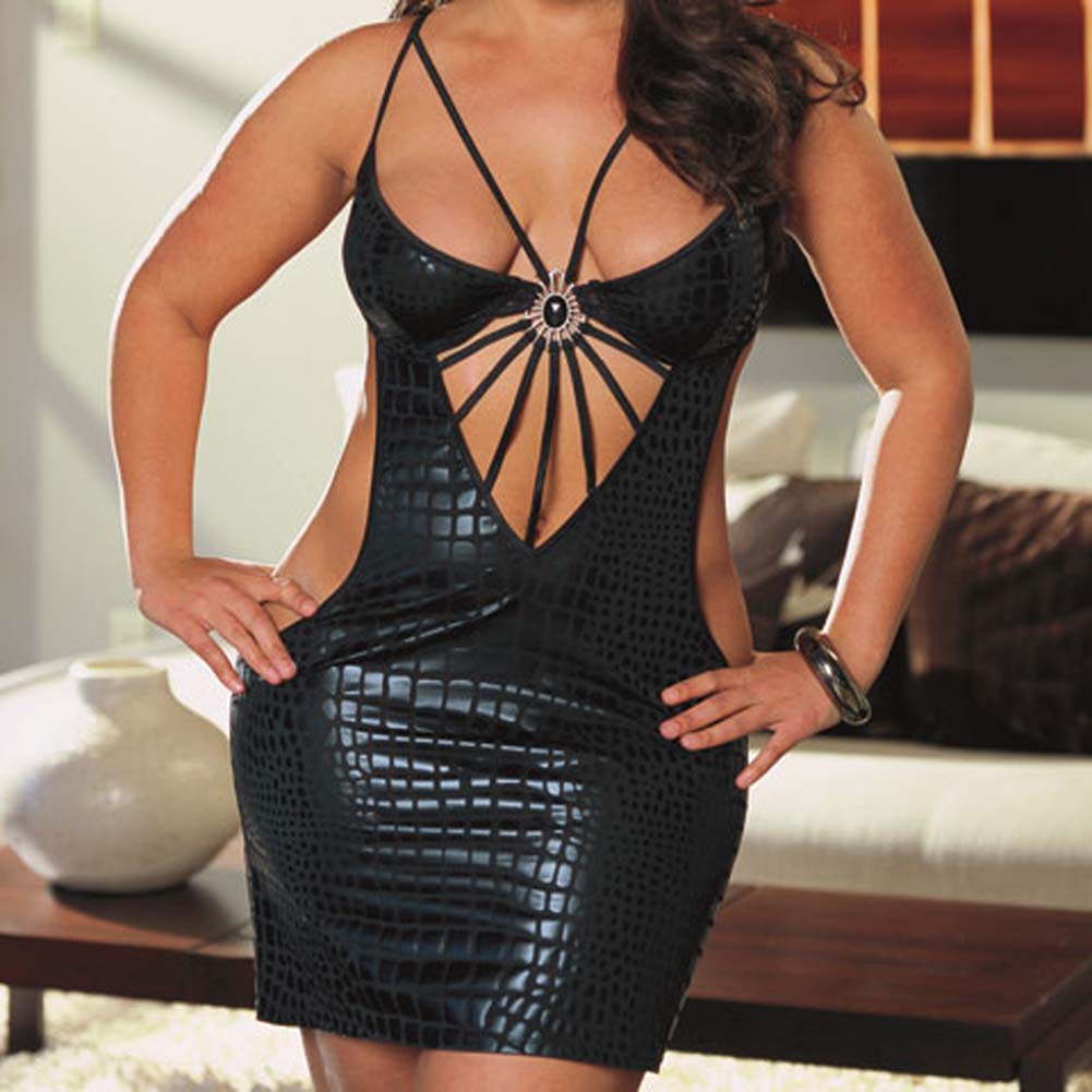 Cobra Print Dress with Thong Black Plus Size 1X/2X - View #3