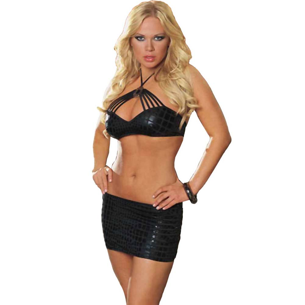 Cobra Print Halter Top and Skirt Medium Black - View #1