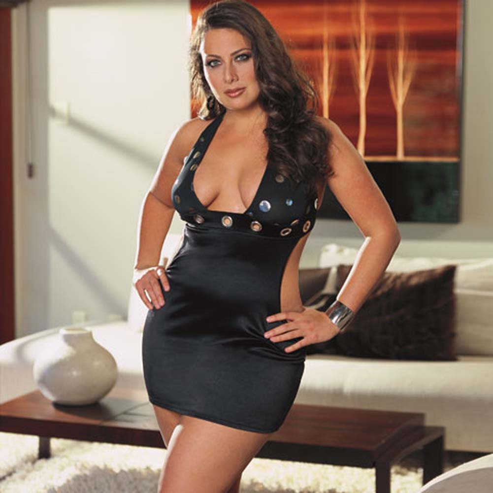 Mirror Dot Microfiber Dress with Thong Black Plus Size 3X/4X - View #1