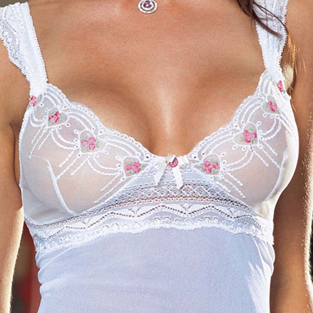Embroidered Mesh Babydoll with Thong Ivory Medium - View #4