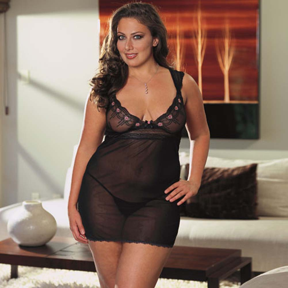 Embroidered Mesh Babydoll Black Plus Size 3X/4X - View #1