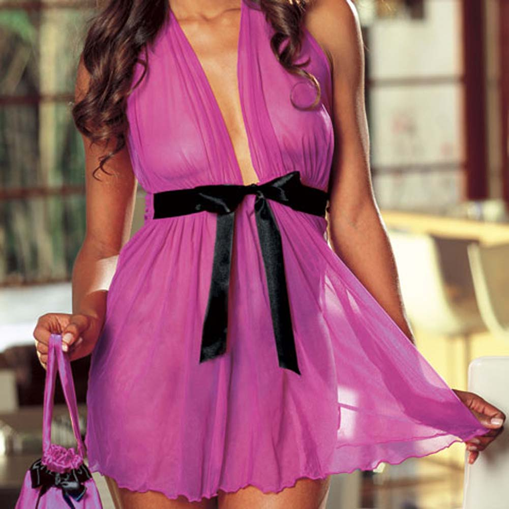 Babydoll with Matching Pouch Set Fuchsia - View #3