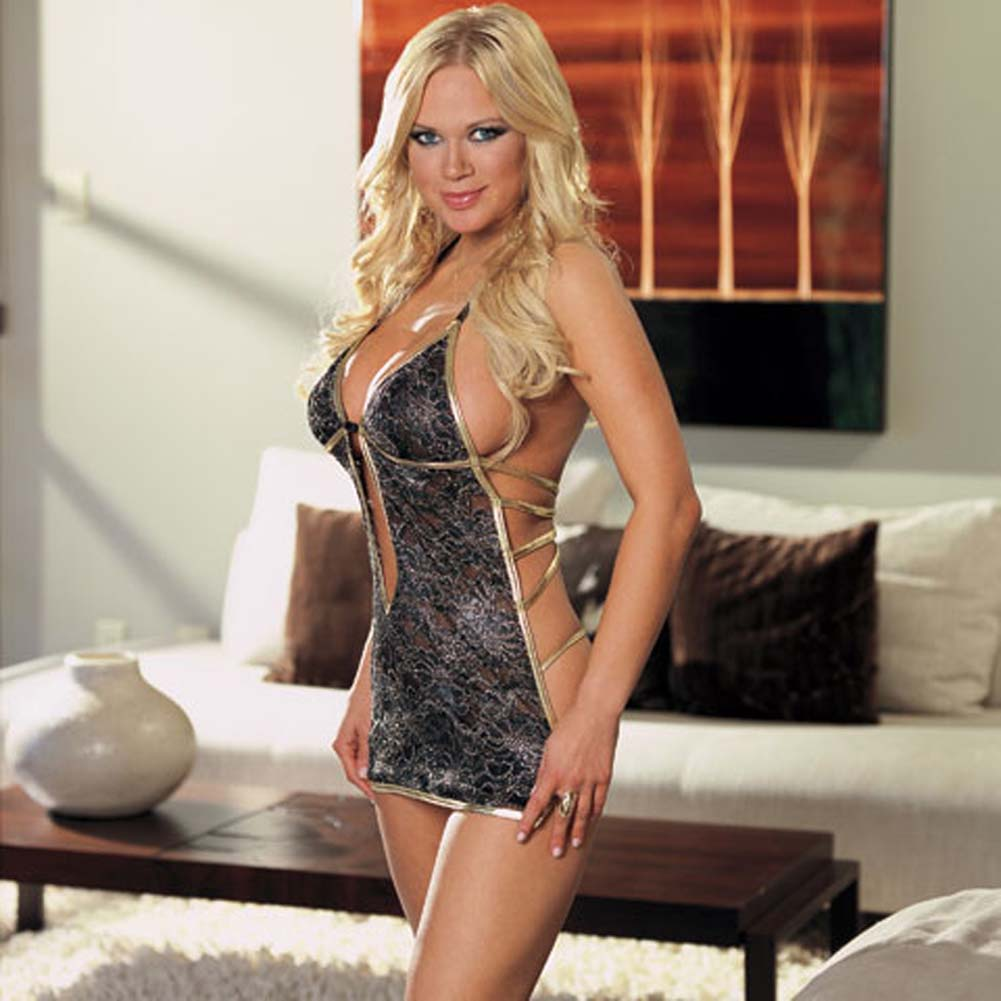 Babydoll with Gold Satin Trim and Thong Black Small - View #1
